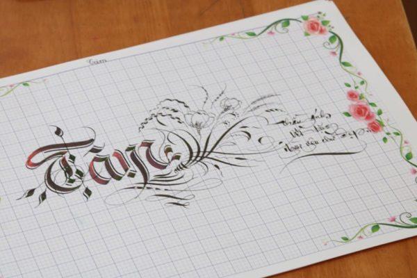 chu nghe thuat 13 600x400 - Bộ sưu tập chữ viết tay, chữ viết hoa sáng tạo, chữ nghệ thuật đẹp