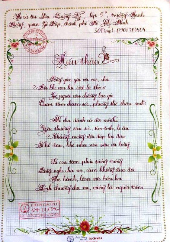 Bài thi viết chữ đẹp lớp 5