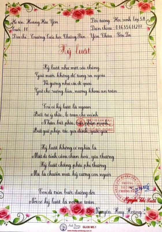 Bài thi viết chữ đẹp lớp 1