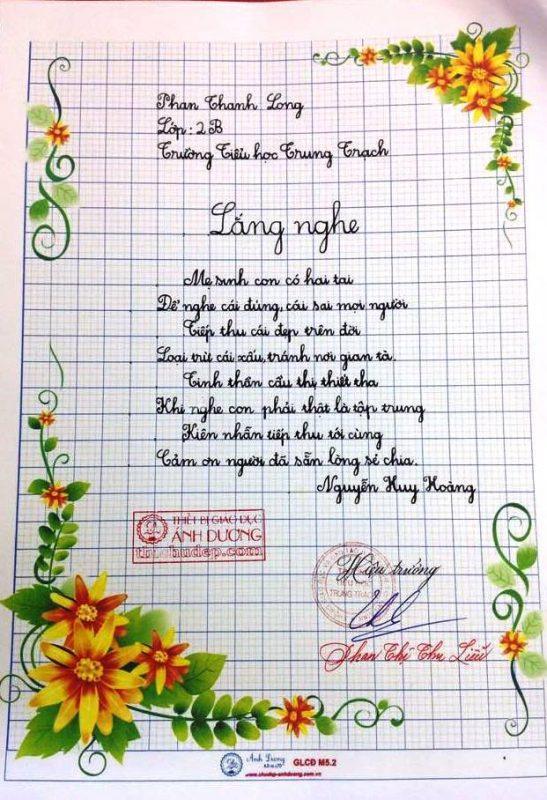 Bài thi viết chữ đẹp lớp 3