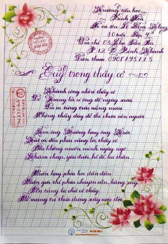 Bài thi viết chữ đẹp lớp 4