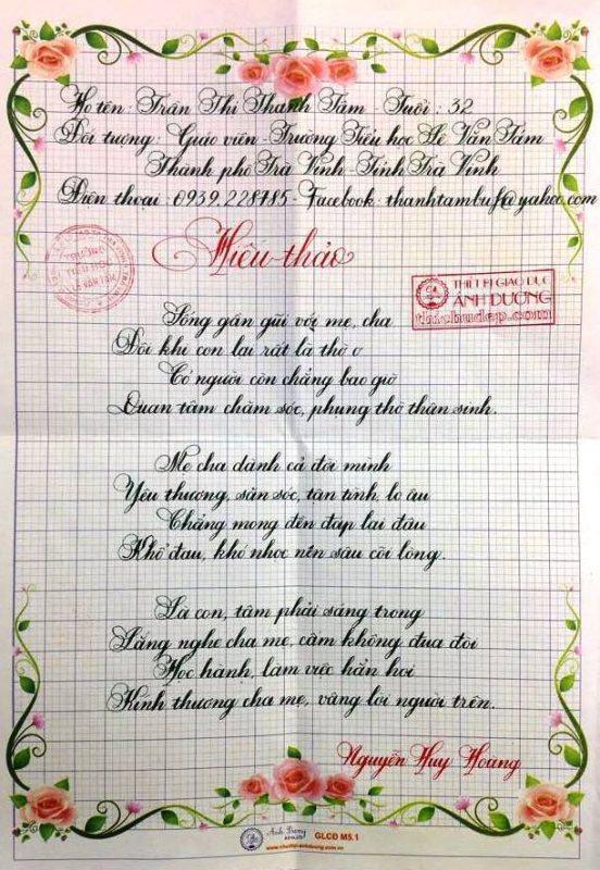 bài thi viết chữ đẹp lần 8