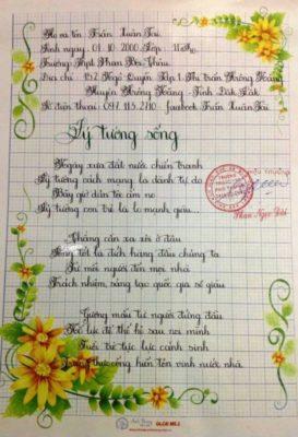 bai thi chu dep 5 273x400 - Giấy hoa viết chữ sáng tạo, chữ nghệ thuật