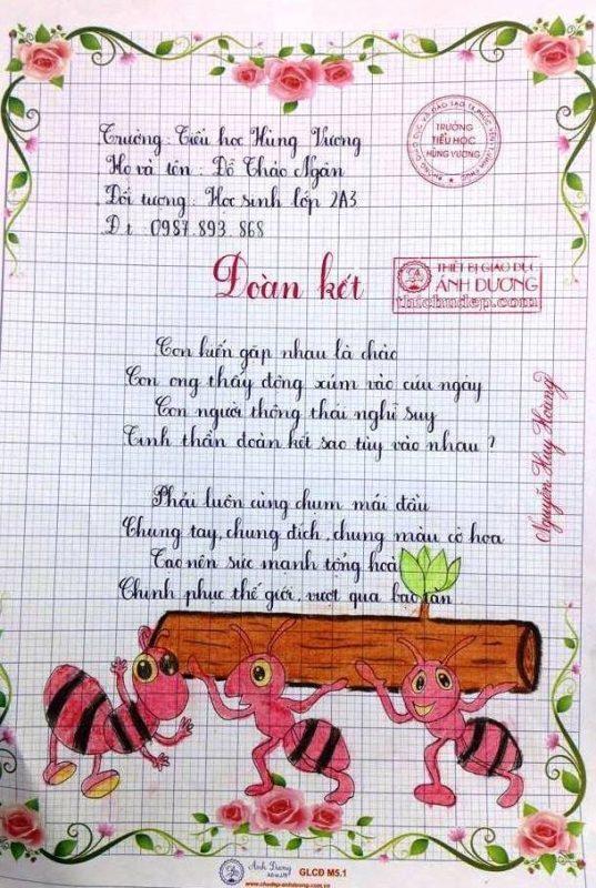 bai thi viet chu dep 1 537x800 - Các bài thi viết chữ đẹp của học sinh tiểu học