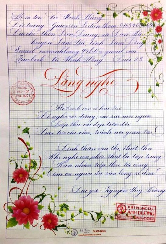 bai thi viet chu dep 11 1 546x800 - Các bài thi viết chữ đẹp của giáo viên, sinh viên ngành sư phạm