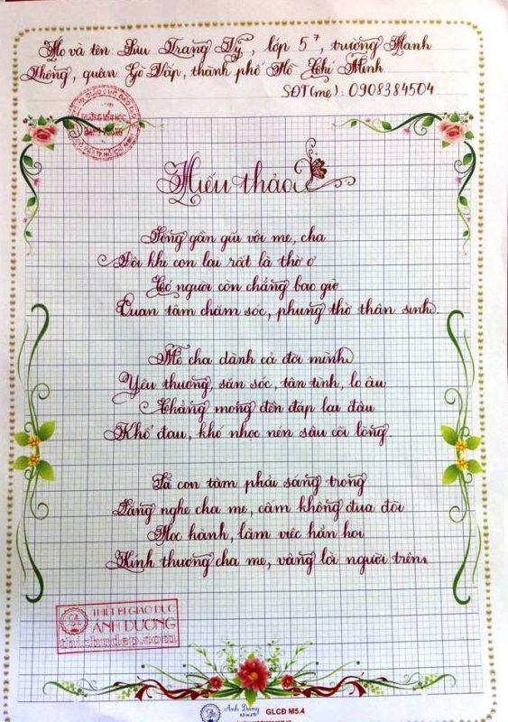 bai thi viet chu dep 11 563x800 - Các bài thi viết chữ đẹp của học sinh tiểu học