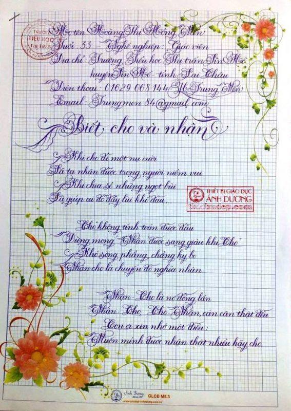 bai thi viet chu dep 12 1 567x800 - Các bài thi viết chữ đẹp của giáo viên, sinh viên ngành sư phạm