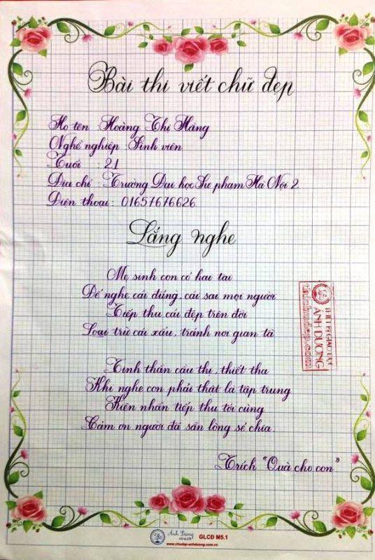 bai thi viet chu dep 13 1 536x800 - Các bài thi viết chữ đẹp của giáo viên, sinh viên ngành sư phạm