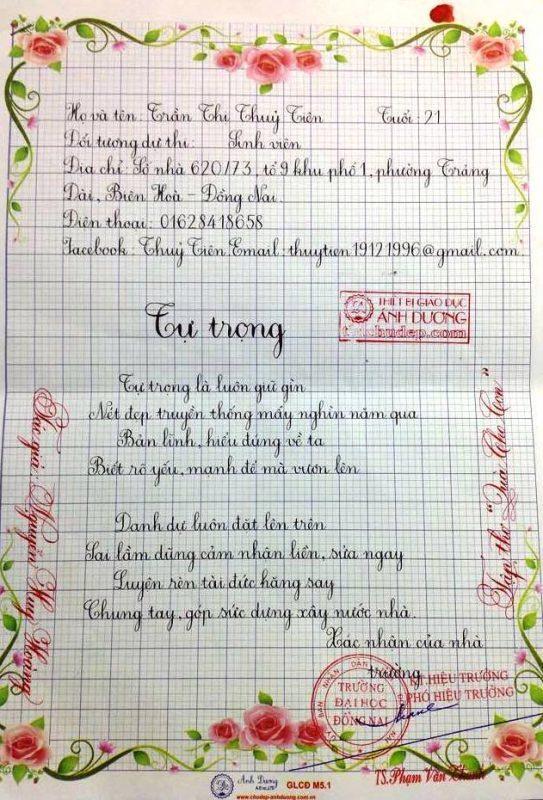 bai thi viet chu dep 14 1 543x800 - Các bài thi viết chữ đẹp của giáo viên, sinh viên ngành sư phạm