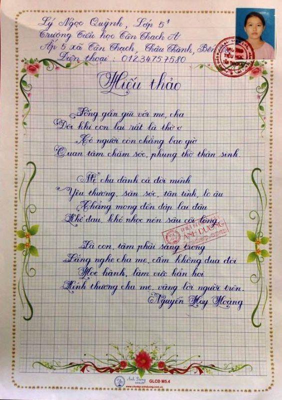 bai thi viet chu dep 14 564x800 - Các bài thi viết chữ đẹp của học sinh tiểu học