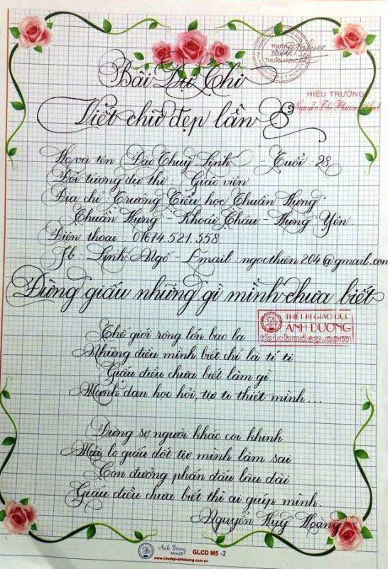 bai thi viet chu dep 16 1 546x800 - Các bài thi viết chữ đẹp của giáo viên, sinh viên ngành sư phạm