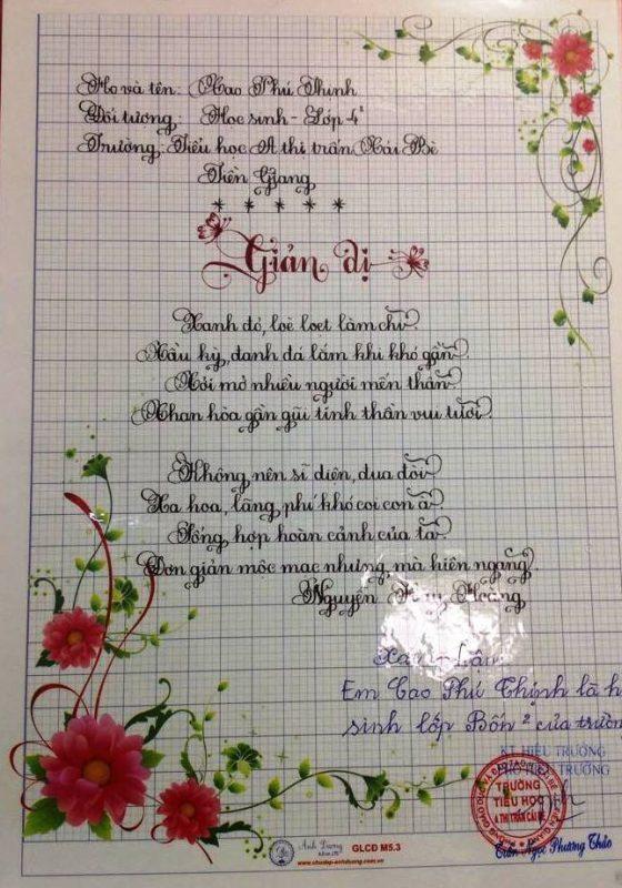 bai thi viet chu dep 16 560x800 - Các bài thi viết chữ đẹp của học sinh tiểu học