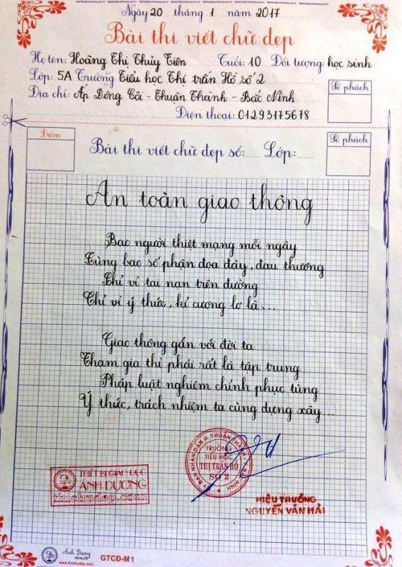 bai thi viet chu dep 19 568x800 - Các bài thi viết chữ đẹp của học sinh tiểu học
