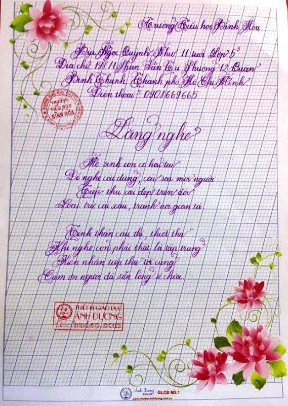 bai thi viet chu dep 2 569x800 - Các bài thi viết chữ đẹp của học sinh tiểu học