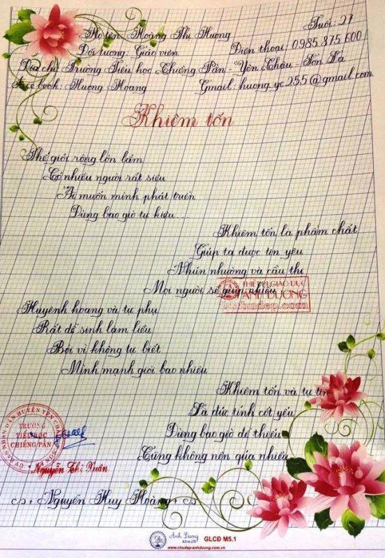 bai thi viet chu dep 23 1 552x800 - Các bài thi viết chữ đẹp của giáo viên, sinh viên ngành sư phạm
