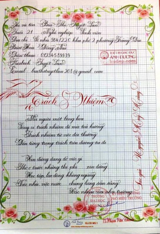 bai thi viet chu dep 25 1 545x800 - Các bài thi viết chữ đẹp của giáo viên, sinh viên ngành sư phạm