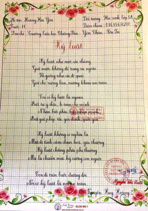 bai thi viet chu dep 25 561x800 - Các bài thi viết chữ đẹp của học sinh tiểu học
