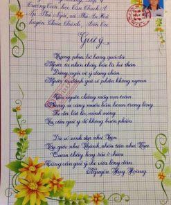 bài thi viết chữ đẹp của học sinh lớp 1