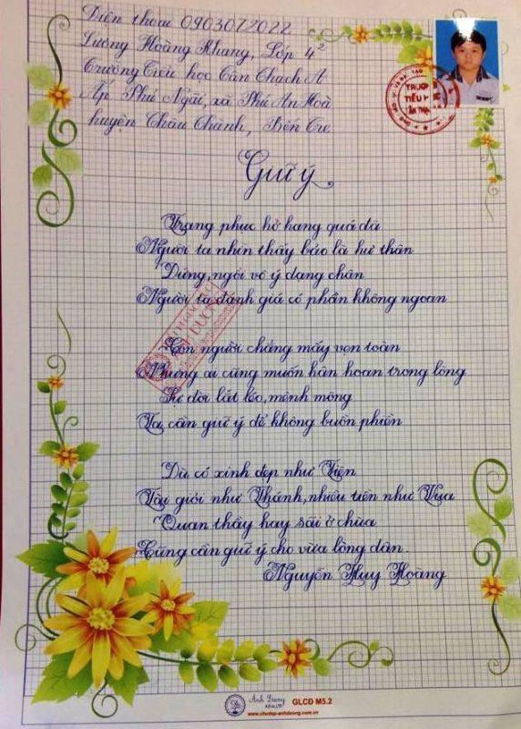 bai thi viet chu dep 29 572x800 - Các bài thi viết chữ đẹp của học sinh tiểu học