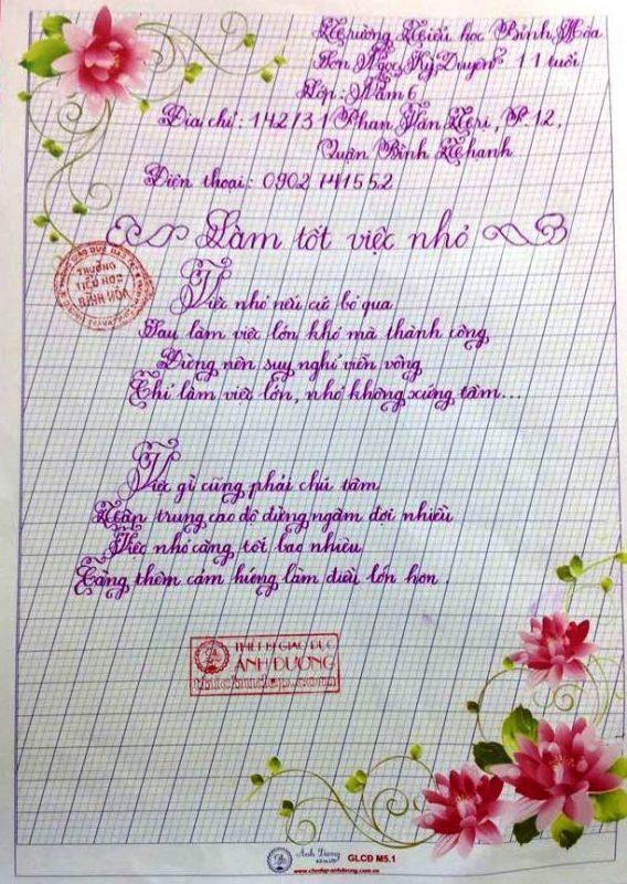 bai thi viet chu dep 3 568x800 - Các bài thi viết chữ đẹp của học sinh tiểu học