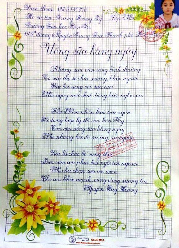 bai thi viet chu dep 32 578x800 - Các bài thi viết chữ đẹp của học sinh tiểu học