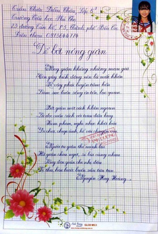 bai thi viet chu dep 33 540x800 - Các bài thi viết chữ đẹp của học sinh tiểu học