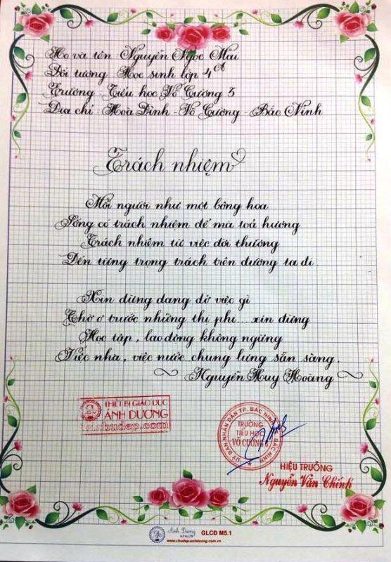 bai thi viet chu dep 45 556x800 - Các bài thi viết chữ đẹp của học sinh tiểu học