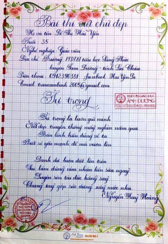 bai thi viet chu dep 5 1 553x800 - Các bài thi viết chữ đẹp của giáo viên, sinh viên ngành sư phạm