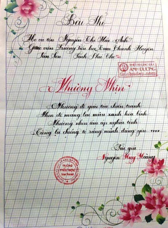 bai thi viet chu dep 6 1 590x800 - Các bài thi viết chữ đẹp của giáo viên, sinh viên ngành sư phạm