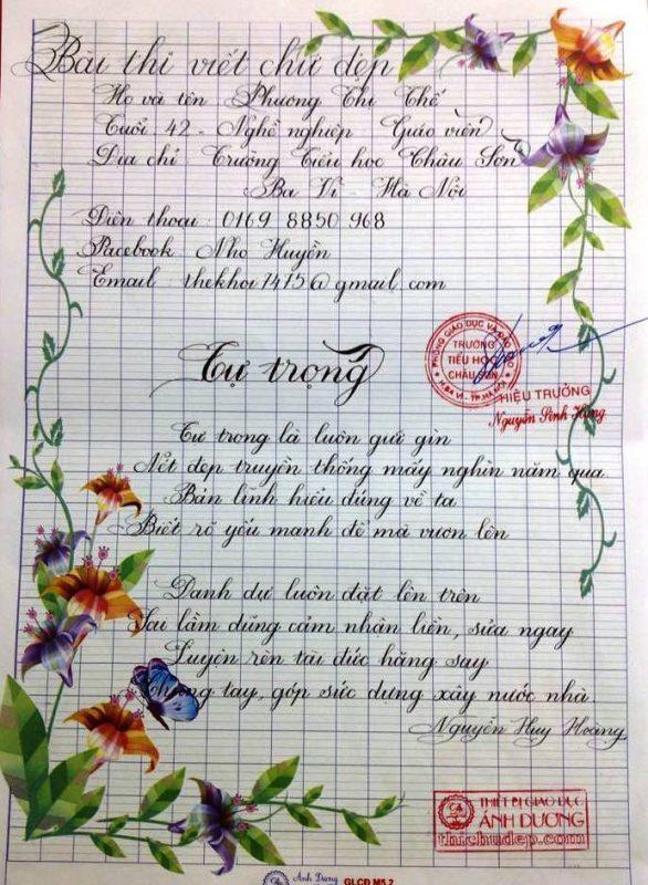 bai thi viet chu dep 7 1 586x800 - Các bài thi viết chữ đẹp của giáo viên, sinh viên ngành sư phạm