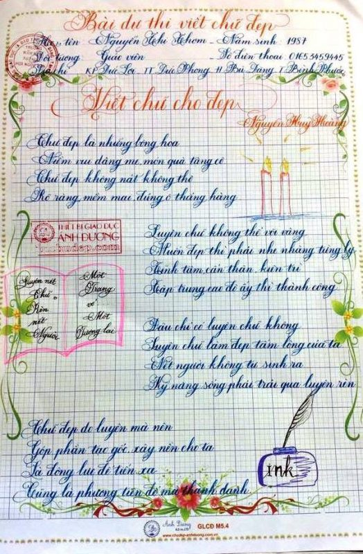 bai thi viet chu dep 8 1 524x800 - Các bài thi viết chữ đẹp của giáo viên, sinh viên ngành sư phạm
