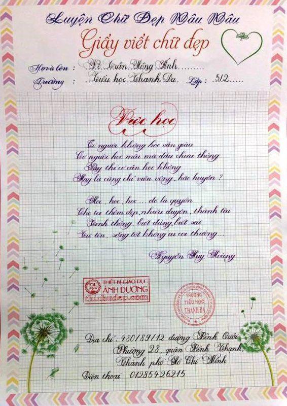 bai thi viet chu dep 9 566x800 - Các bài thi viết chữ đẹp của học sinh tiểu học