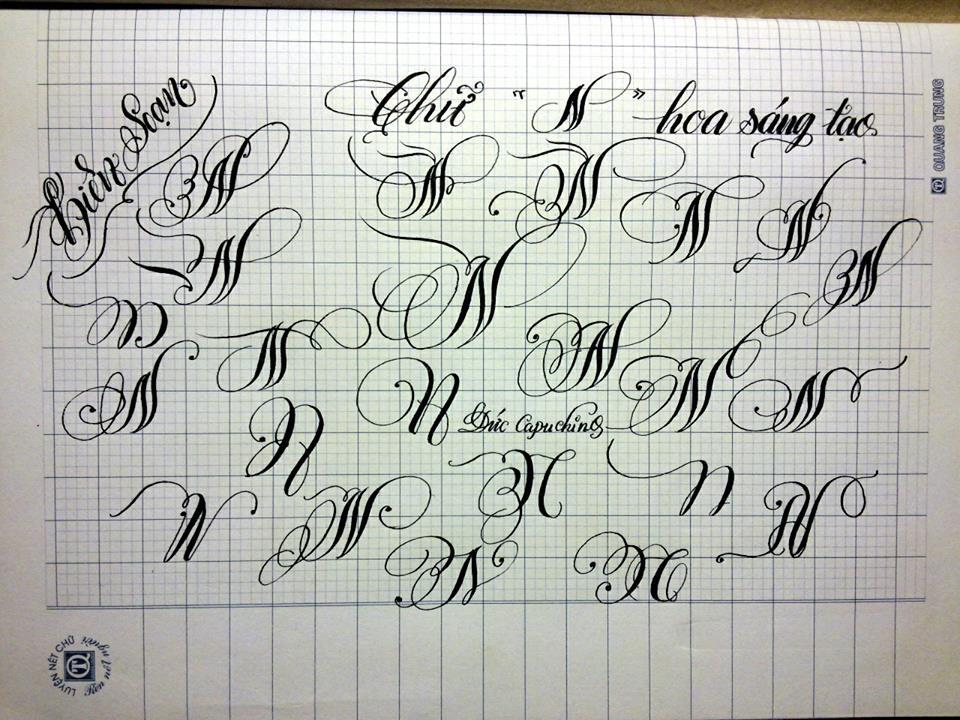 chu cach dieu 9 - Mẫu chữ cách điệu, chữ hoa sáng tạo, chữ nghệ thuật trong luyện chữ đẹp